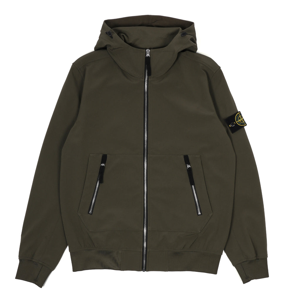 Stone Island Soft Shell-R Hooded Jacket Olive Drab