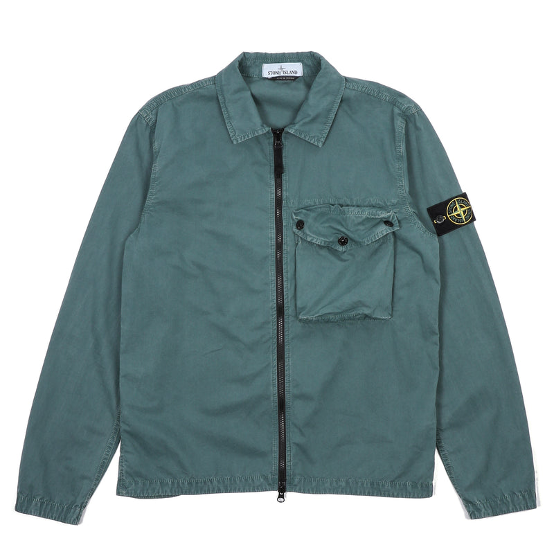 Stone Island Cotton Canvas Pocket Overshirt Petrol Green