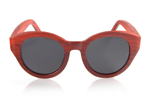 Check Meowt Ravishing Red Wood Cat-Eye Sunglasses UV400