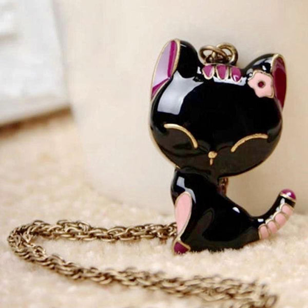 Cat Goth Your Tail Black & Pink Long Retro Necklace