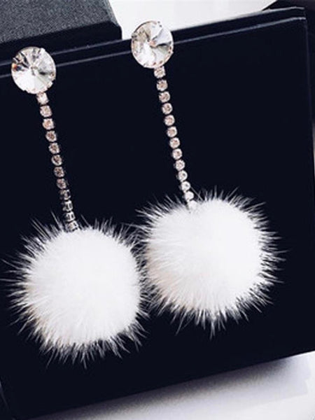 Fluffy's FurBall Rhinestone Drop Earrings