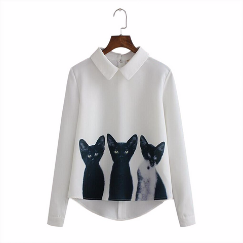 Holy Cat Trinity White Chiffon Blouse