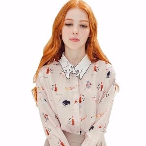 Mewsic to My Ears Cat-Collar Retro Blouse