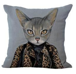 Dapper Time-Travel Cat Throw Pillow Covers