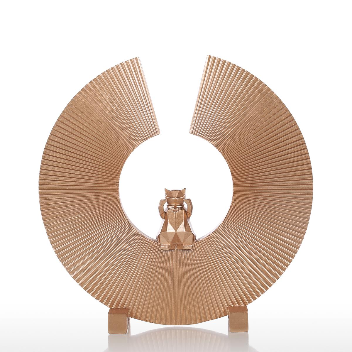 Get on Your Cat's Wavelength Mod Gold Geometric Sculpture