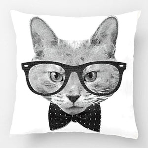 Hipster Cat Black-and-White Retro Throw Pillow Covers