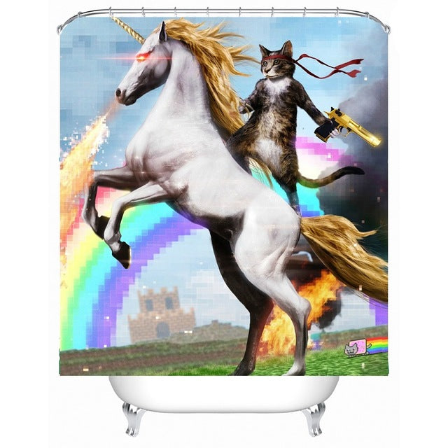 Majico the Cat Rides Unicorn Fabric Shower Curtain