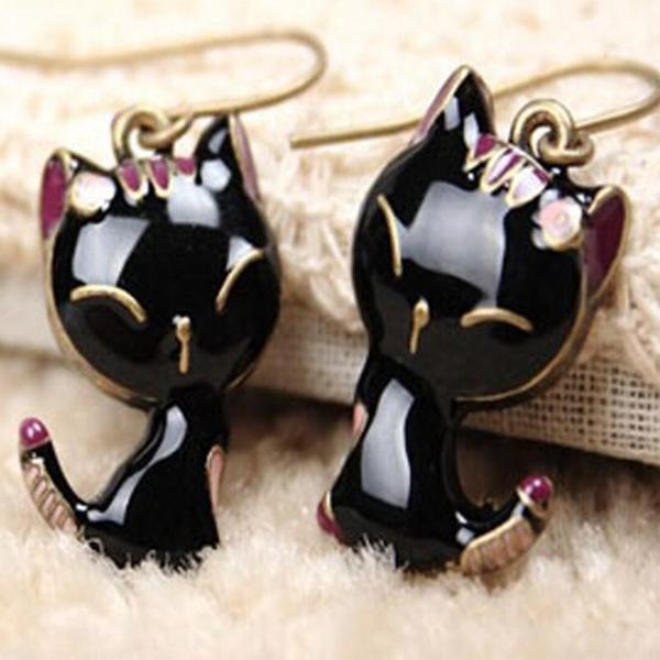 Cat Goth Your Tail Black & Pink Retro Earrings