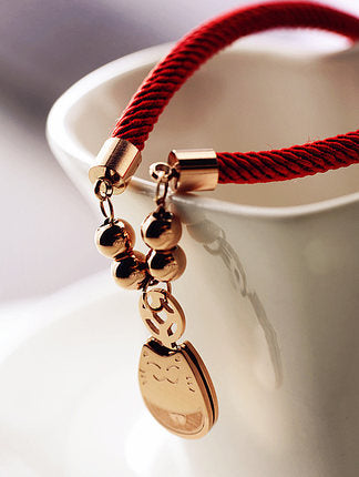 Red Rope & Rose Gold Lucky Cat Bracelet