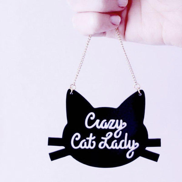 Crazy Cat Lady Vintage-Style Pendant Necklace