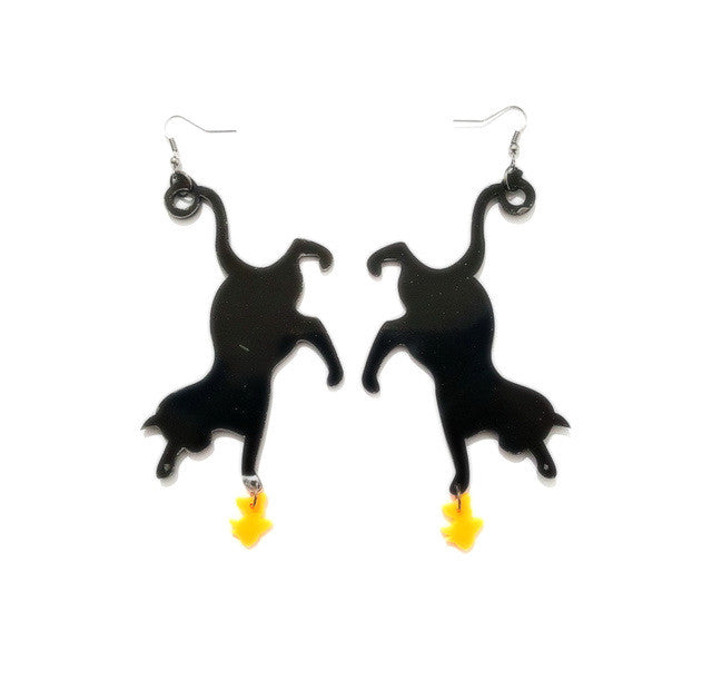 Fishing for Gold Blackcat Earrings