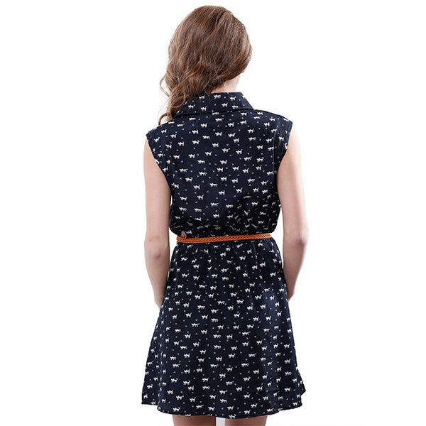 Stay Kool Kitty in Navy Mini Dress