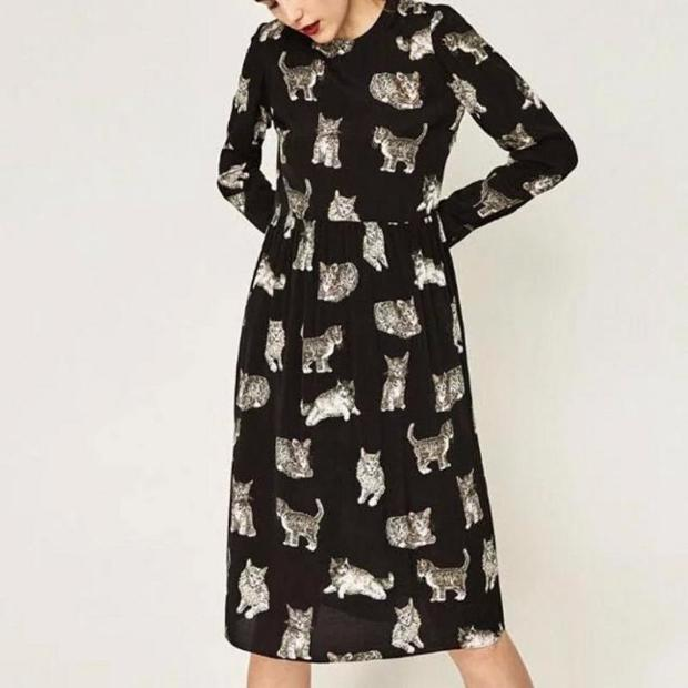 Cinder-Ella Cats on Black Bohemian Retro Dress