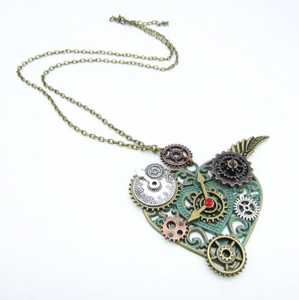 Steampunk My Purr Heart Pendant Necklace
