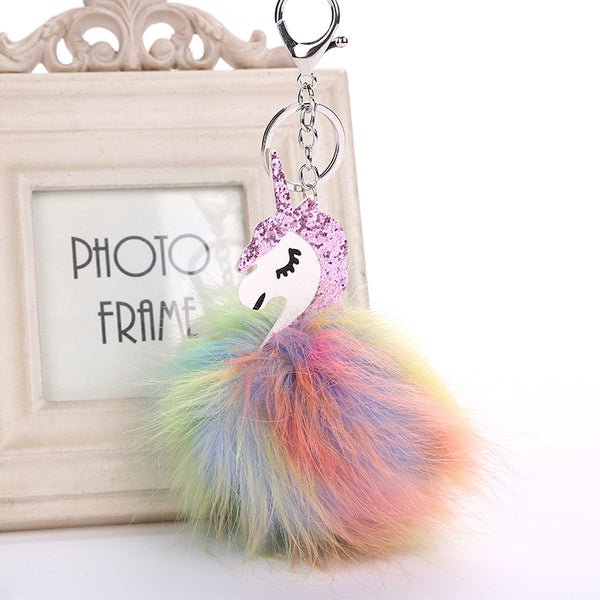 Somewhere Over the Unicorn Pompom Key Chain