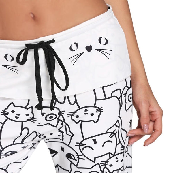 Smarty Cat Wide-Leg Drawstring Pants