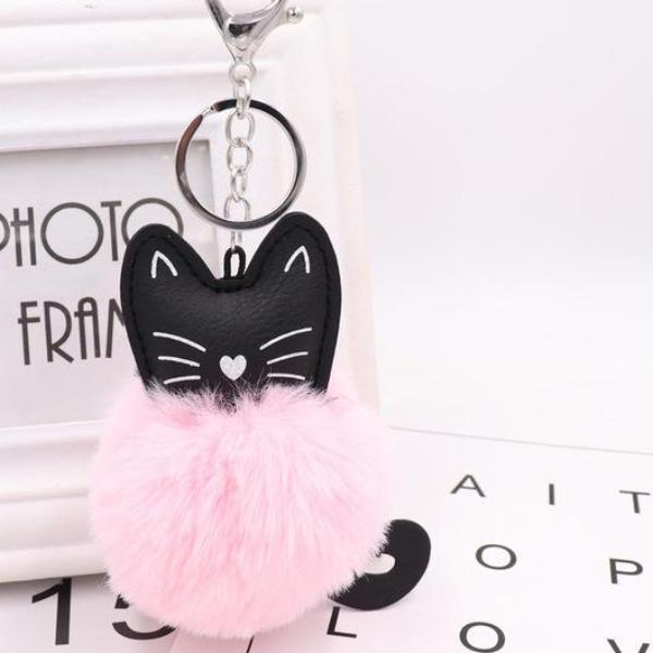 Never Furget Me Pompom Kitty Key Chain