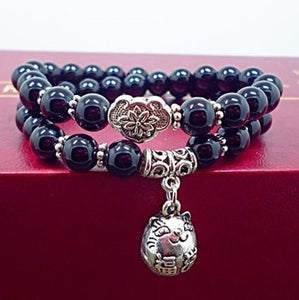 Protect Meow Black Onyx & Silver Lucky Cat Charm Bracelet
