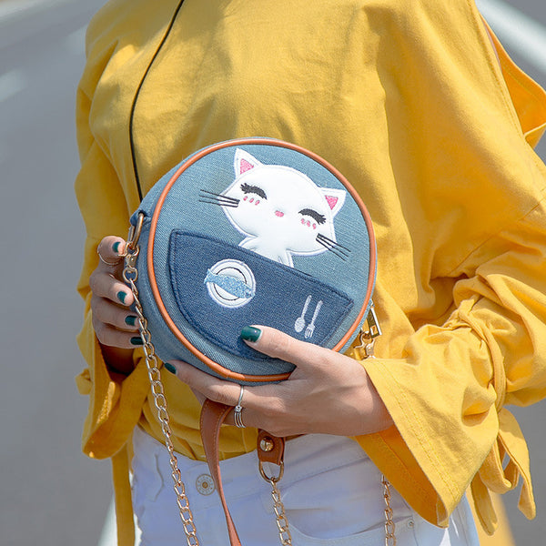 One Happy Kitty Round Denim Shoulder Bag