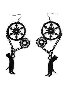 Steampunk Me Up Blackcat Earrings