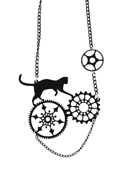 Steampunk Me Up Blackcat Necklace