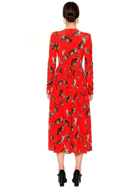 Toy Grrr Vintage Red Runway Cat-Print Dress - Small to Zoftig Plus