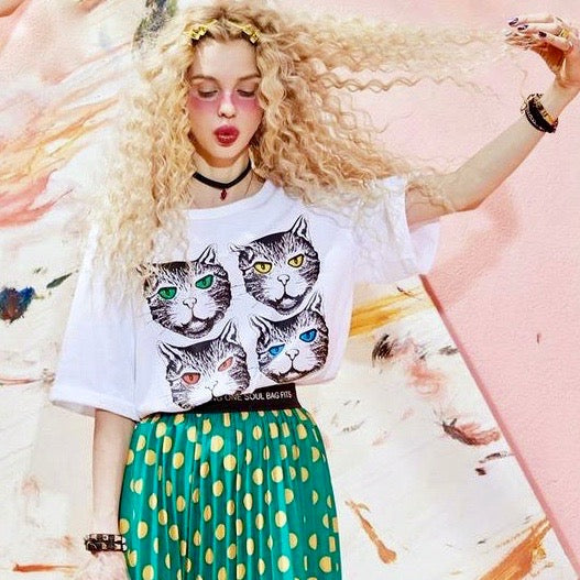 Turn Around Bright Cat Eyes Vintage Style Oversized Shirt