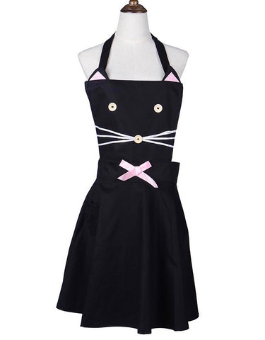 What The Meow Is Cooking Blackcat Retro Bib Apron