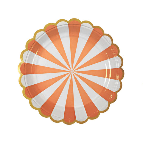 orange and white party plates with gold scallops