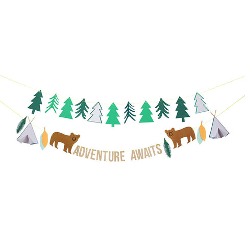 party banner that reads adventure awaits with bear and tree pennants