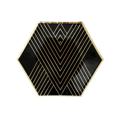 black and gold hexagonal party plates