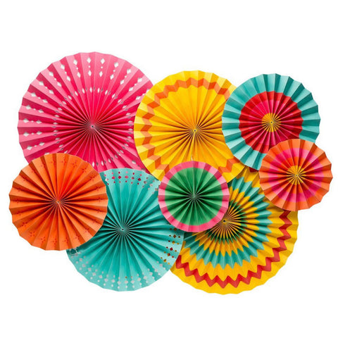 colorful fiesta paper party fans