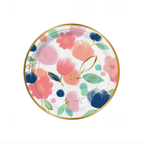 small pink and blue floral party plate outlined in gold foil