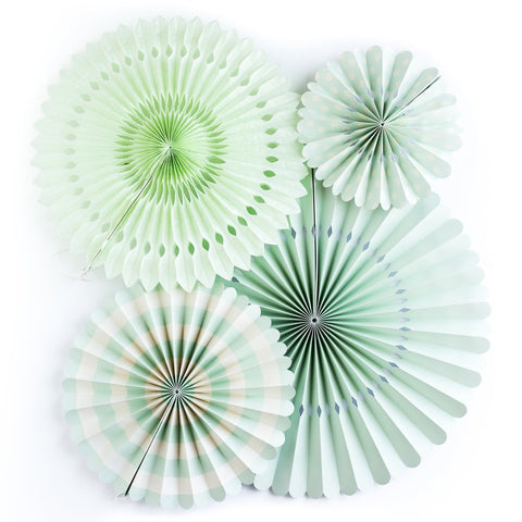 green paper fans for parties
