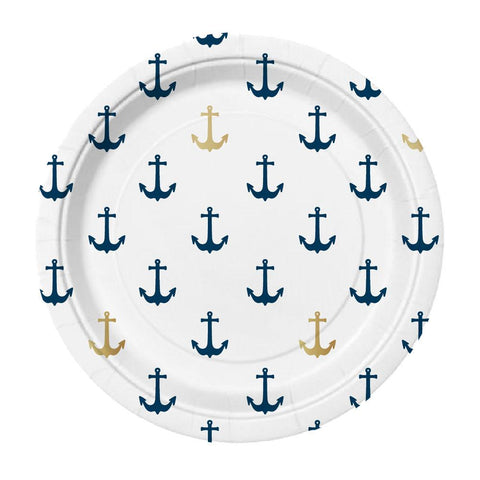 navy blue and gold anchor nautical party plates
