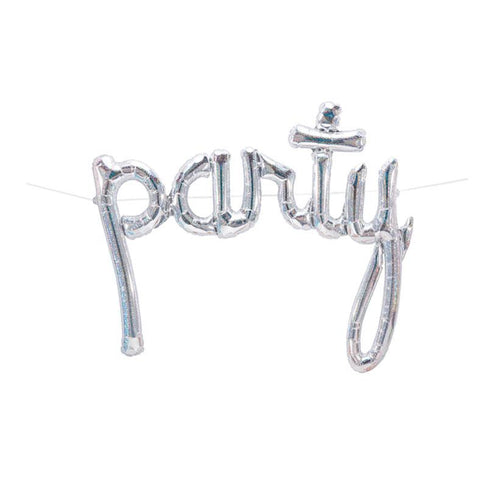 silver letter balloon inflated with helium that reads party