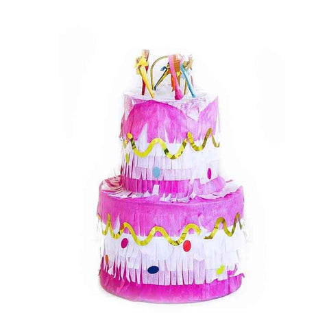 cute pink and gold cake pinata for birthday parties