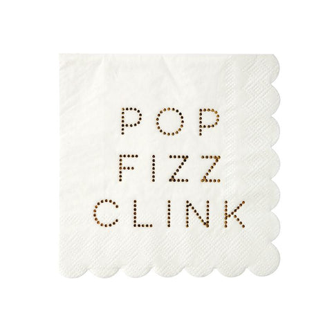 white party napkins that read pop fizz clink in gold