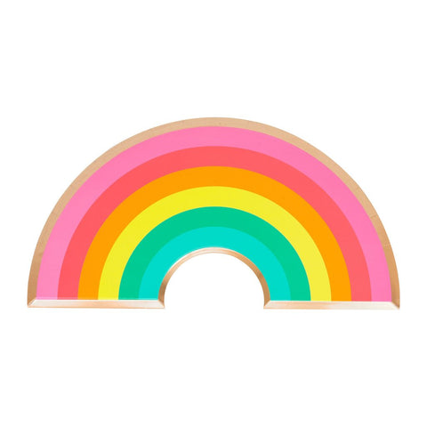 colorful rainbow paper party plates outlined in gold foil