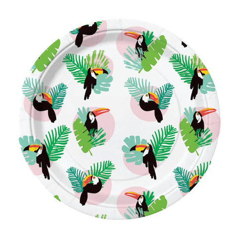 tropical paper party plates with toucan birds and palm fronds