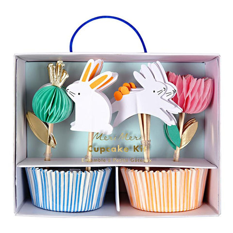 Easter cupcake kit with pastel liners and cute honeycomb bunny toppers