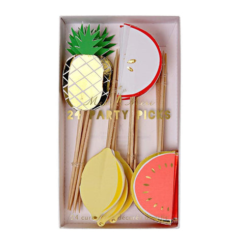 pineapple, melon, watermelon and lemon toothpicks