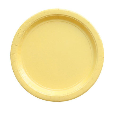 light yellow paper party plate