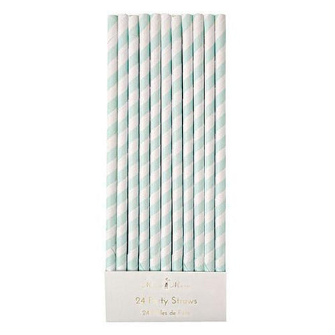 paper straws with mint green and white stripes