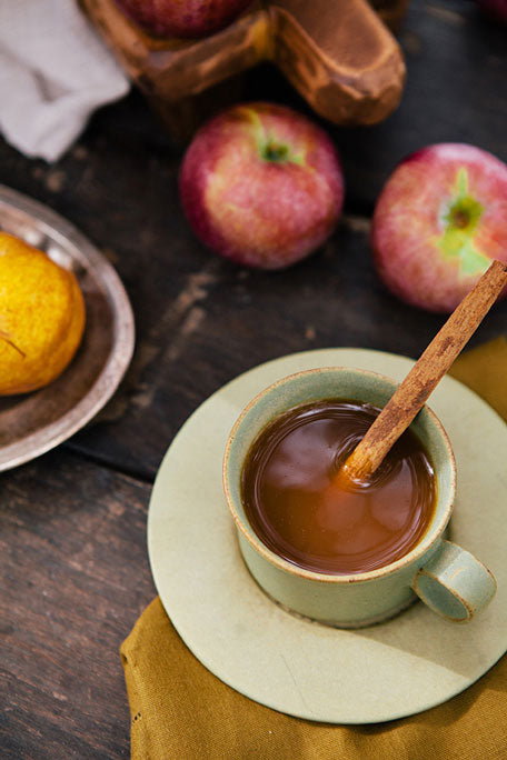 warm hot cider with a cinnamon stick and fresh apples