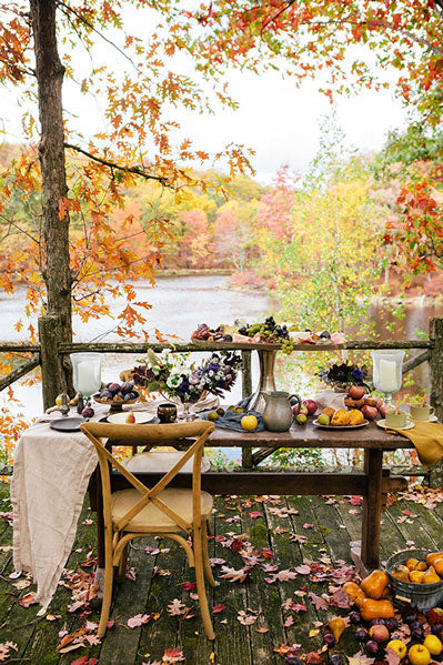 fall leaves outdoor cozy dinner party