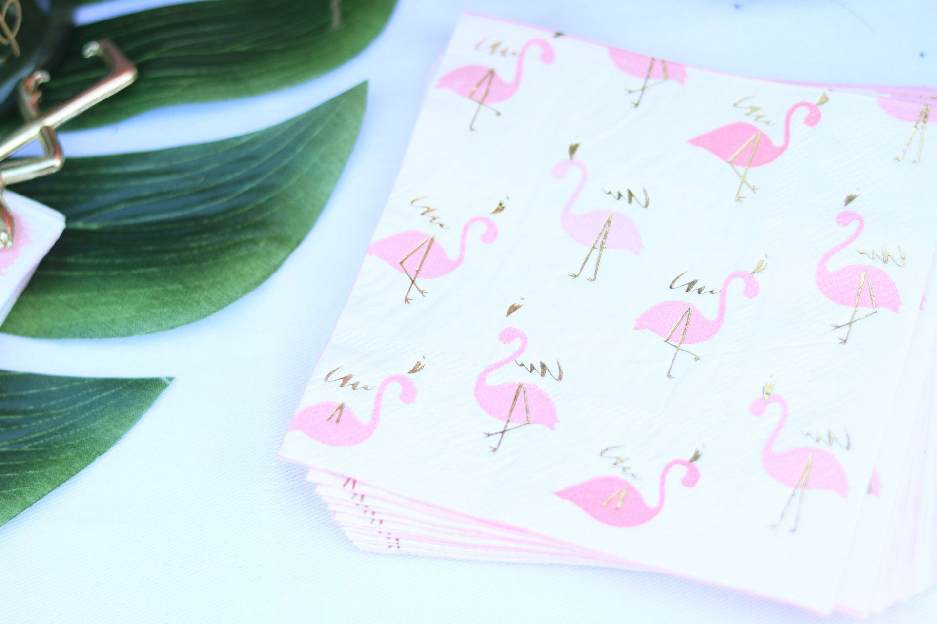 pink and gold foil flamingo paper party napkins