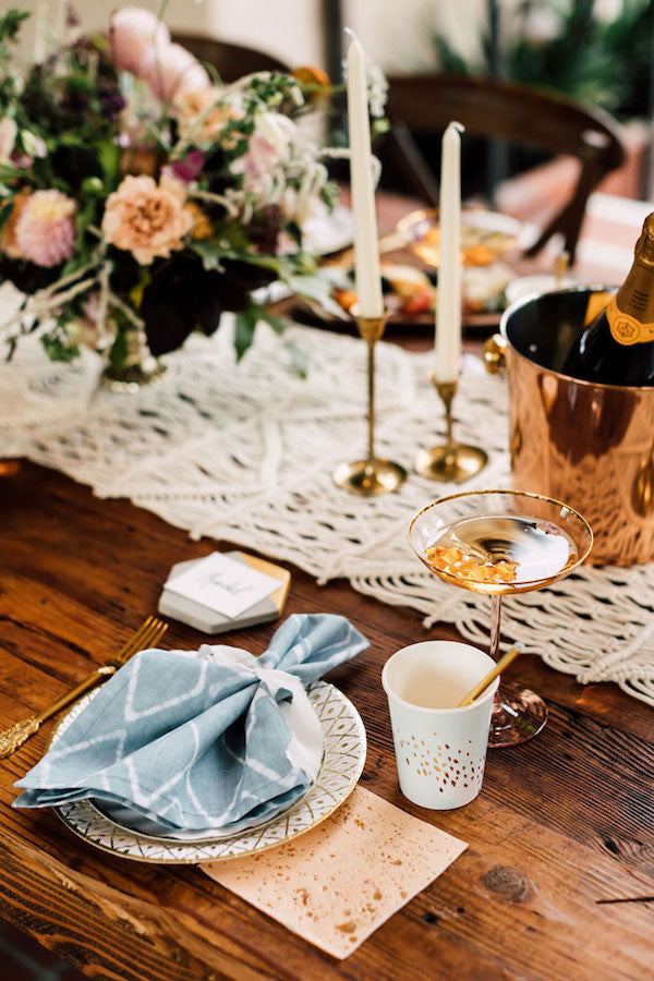 boho chic baby shower setup