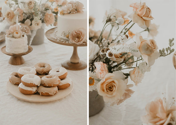 donut and cake with peach colored flowers