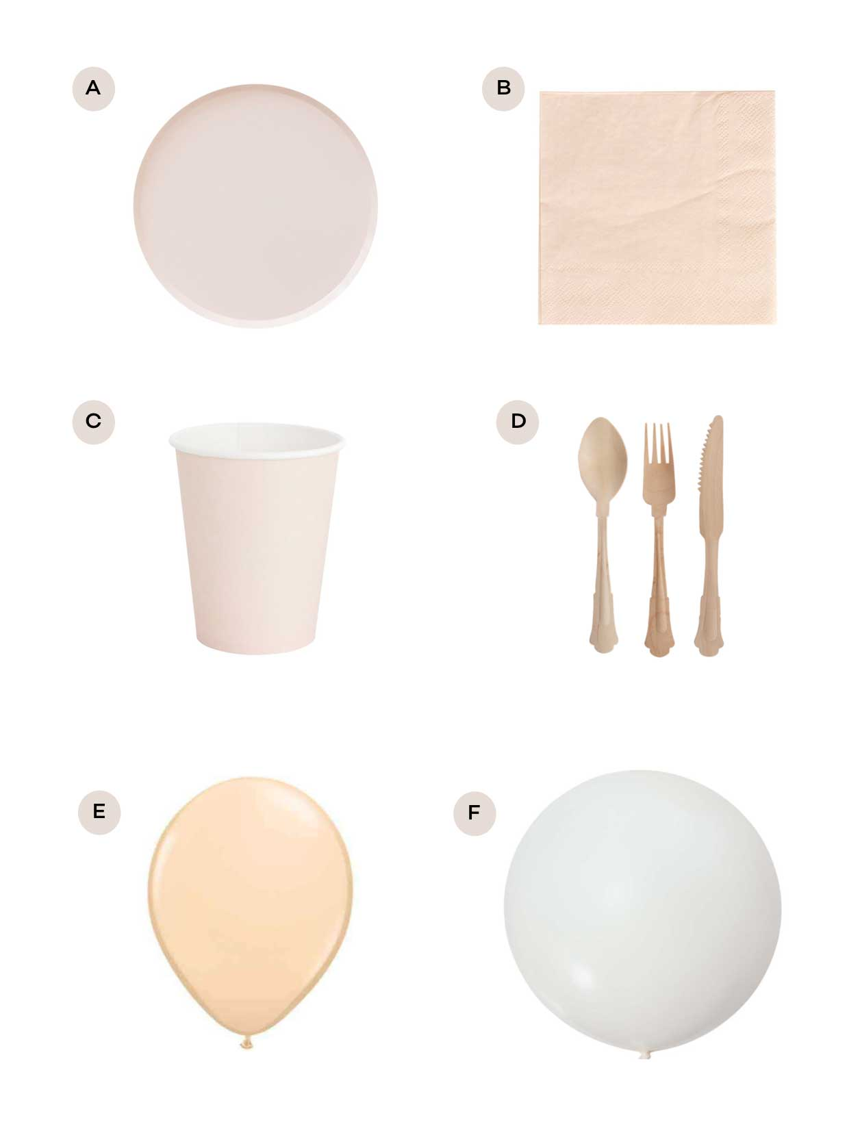 nude pink party supplies